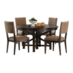 Liberty Furniture - Liberty Furniture Visions 5 Piece 72x54 Dining Room Set in Mocha, Dark Wood - The Visions collection offers contemporary styling with a comfortable rustic edge. Great design offers flexibility for today's living spaces. The case pieces feature picture frame, beveled moldings with exposed parting rails for added dimension. Tapered block feet are accented with a bottom stretcher for the base of the cases. Custom designed pewter bar pull twist hardware delivers a distinctive look combined with the waxed dark mocha finish. Architectural lines with casual looks highlight the tables. Fancy face 4 way match veneers accent the table tops. Two chair options feature a splat back with tapered panels and legs, or a low profile upholstered back; both in a brown multi chenille fabric. What's included: Dining Table (1), Side Chair (4).