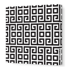 """Avalisa - Pattern - Squares Stretched Wall Art, 28"""" x 28"""", Black -"""