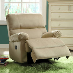 None - Payton Sand Brown Fabric Nursery Rocker Recliner Chair - The Payton Sand brown fabric nursery rocker recliner chair is handcrafted using time-honored Old World techniques.  This recliner chair offers rocking and reclining movements.  This versatile recliner can be used in any room of the house.