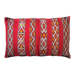 Killim Pillow - Handwoven pillow by the Zemmour tribe in the Middle Atlas mountains of Morocco. Sham has an elaborate diamond and X-pattern.