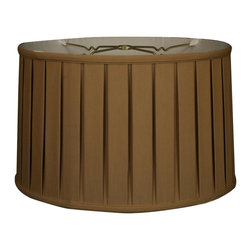 """""""Royal Designs, Inc"""" - """"Shallow Drum English Box Pleat Basic Lampshade - Antique Gold 17 x 18 x 11.5, 6 - """"This Shallow Drum English Box Pleat Basic Lampshade is a part of Royal Designs, Inc. Timeless Basic Shade Collection and is perfect for anyone who is looking for a traditional yet stunning lampshade. Royal Designs has been in the lampshade business since 1993 with their multiple shade lines that exemplify handcrafted quality and value.Please note that there will be an over-sized shipping surcharge for this lamp shade. All other shipping promotions will still be accepted, unless otherwise noted. Exterior Fabric: Hand Tailored Silk-Type Shantung (except Linen, Mouton, Burlap & Faux Rawhide fabrics)Interior Fabric: Off-White Softback Lining (Black, Burlap & Faux Rawhide fabrics have gold lining)Washer: Standard brass-finish spider fitter, use a finial to fasten shade. (All shades with 9�+ top diameter have a V-Notch fitter for use on a 6� or 8� reflector bowl)Trim: Top and bottom trim (single or double) with vertical pipingFrame: Heavy grade rust resistant metal frameBulb: Suggested maximum wattage is 150-watt for most sizes Height is measured by slant height from top to bottom of the lampshades� front face"""