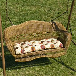 Casual Decor by Kaven - Sahara Swing - Walnut - Traditional styling. UV protected resin wicker over a powder coated steel frame. Porch Swing is available