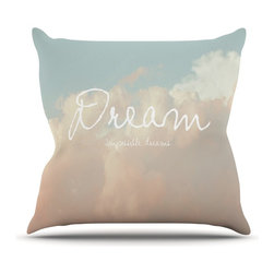 """Kess InHouse - Suzanne Carter """"Dream"""" Quote Clouds Throw Pillow (Outdoor, 26"""" x 26"""") - Decorate your backyard, patio or even take it on a picnic with the Kess Inhouse outdoor throw pillow! Complete your backyard by adding unique artwork, patterns, illustrations and colors! Be the envy of your neighbors and friends with this long lasting outdoor artistic and innovative pillow. These pillows are printed on both sides for added pizzazz!"""