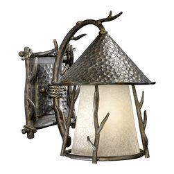Vaxcel Lighting - Vaxcel Lighting WD-OWD090AA Berkeley Woodland Traditional Outdoor Wall Sconce - The theme of tree branches with hand forged artistry.
