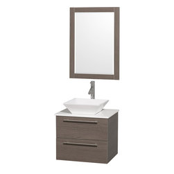 Wyndham - Amare 24in. Wall Vanity Set in Grey Oak w/ White Stone Top & White Porcelain S - Modern clean lines and a truly elegant design aesthetic meet affordability in the Wyndham Collection Amare Vanity. Available with green glass or pure white man-made stone counters, and featuring soft close door hinges and drawer glides, you'll never hear a noisy door again! Meticulously finished with brushed Chrome hardware, the attention to detail on this elegant contemporary vanity is unrivalled.