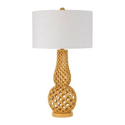 Horizons - Horizons Chain Link Contemporary Table Lamp X-LT-7848 - The unique shapely body of this AF Lighting contemporary table lamp is constructed of a plethora of rings linked together to create a chain link appearance. The resin body has been finished in an eye-catching Yellow hue and paired with a white poly linen hard back drum shade for a modern finishing touch.