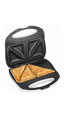 Hamilton Beach - Sandwich Toaster - Make hot sandwiches the easy way with this Proctor-Silex Sandwich Toaster. It is fast and easy to use with nonstick, easy-clean, indented grids. It has Power On/Preheat lights. Compactly stores upright when lid is locked and cord is wrapped.