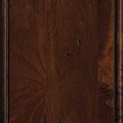 """Dura Supreme Cabinetry Heirloom/Heavy Heirloom """"K"""" Finish on Knotty Alder - Dura Supreme Cabinetry color chip/ swatch in the Knotty Alder wood in the Heirloom/Heavy Heirloom """"K"""" finish including the Mission stain and Charcoal glaze."""