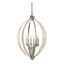 Currey & Company - Currey & Company Bella Luna Chandelier, Large - Strikingly ethereal, the Bella Luna Chandelier makes a sublime statement in larger spaces. Its sleek elliptical form is enhanced by a Contemporary Silver Leaf finish, lending an airy feel to this celestial-inspired piece.