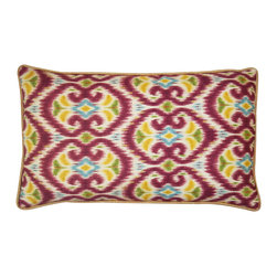 JITI - Small Bali Red Cotton Pillow - Bright colors and bold patterns take center stage on this cheerful pillow, bursting with warm reds and yellows. Beachy and beautiful, it will add a lively pop of color to your couch or favorite chair.