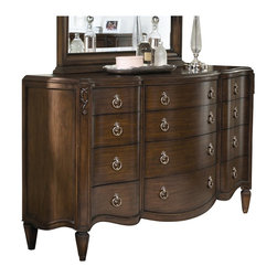 American Drew - American Drew Jessica McClintock Couture 12 Drawer Triple Dresser in Mink Finish - American Drew - Dressers - 908130 - The Triple Dresser from the Jessica McClintock collection, offers all the storage you might need and more. The extra wide top is the perfect resting place for all your personal items, from jewelry to accent pieces. The 12 storage drawers are split into 3 columns for easy maneuvering. The dresser is complete with round, metal accents which emulate elegant door knockers and are evenly spaced so that each drawer glides seamlessly without locking into place.