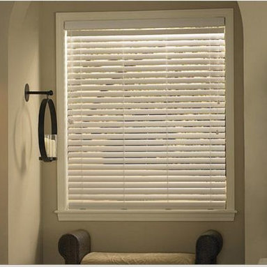 Bathroom - Faux Wood Blinds offer budget-friendly, durable solutions for windows. Get the look of real wood without the price. Quality is maintained and they come in wood grained, sandblasted or painted finishes to complement any décor.