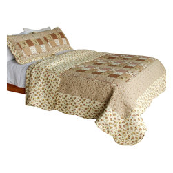 Blancho Bedding - Garden Dream Cotton 3PC Vermicelli-Quilted Patchwork Quilt Set  Full/Queen - Set includes a quilt and two quilted shams. Shell and fill are cotton. For convenience, all bedding components are machine washable on cold in the gentle cycle and can be dried on low heat and will last you years. Intricate vermicelli quilting provides a rich surface texture. This vermicelli-quilted quilt set will refresh your bedroom decor instantly, create a cozy and inviting atmosphere and is sure to transform the look of your bedroom or guest room. Dimensions: Full/Queen quilt: 90 inches x 98 inches. Standard sham: 20 inches x 26 inches.