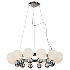PLC Lighting 12-Light Polished Chrome Chandelier with Matte Opal Glass Shade