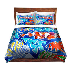 DiaNoche Designs - Duvet Cover Microfiber - Snorkeling - DiaNoche Designs works with artists from around the world to bring unique, artistic products to decorate all aspects of your home.  Super lightweight and extremely soft Premium Microfiber Duvet Cover (only) in sizes Twin, Queen, King.  Shams NOT included.  This duvet is designed to wash upon arrival for maximum softness.   Each duvet starts by looming the fabric and cutting to the size ordered.  The Image is printed and your Duvet Cover is meticulously sewn together with ties in each corner and a hidden zip closure.  All in the USA!!  Poly microfiber top and underside.  Dye Sublimation printing permanently adheres the ink to the material for long life and durability.  Machine Washable cold with light detergent and dry on low.  Product may vary slightly from image.  Shams not included.