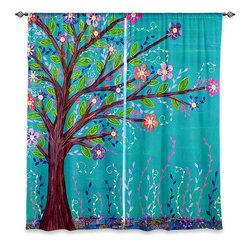 "DiaNoche Designs - Window Curtains Lined by Sascalia Happy Tree - DiaNoche Designs works with artists from around the world to print their stunning works to many unique home decor items.  Purchasing window curtains just got easier and better! Create a designer look to any of your living spaces with our decorative and unique ""Lined Window Curtains."" Perfect for the living room, dining room or bedroom, these artistic curtains are an easy and inexpensive way to add color and style when decorating your home.  This is a woven poly material that filters outside light and creates a privacy barrier.  Each package includes two easy-to-hang, 3 inch diameter pole-pocket curtain panels.  The width listed is the total measurement of the two panels.  Curtain rod sold separately. Easy care, machine wash cold, tumble dry low, iron low if needed.  Printed in the USA."