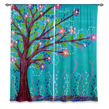 "DiaNoche Designs - Window Curtains Lined by Sascalia Happy Tree - Purchasing window curtains just got easier and better! Create a designer look to any of your living spaces with our decorative and unique ""Lined Window Curtains."" Perfect for the living room, dining room or bedroom, these artistic curtains are an easy and inexpensive way to add color and style when decorating your home.  This is a woven poly material that filters outside light and creates a privacy barrier.  Each package includes two easy-to-hang, 3 inch diameter pole-pocket curtain panels.  The width listed is the total measurement of the two panels.  Curtain rod sold separately. Easy care, machine wash cold, tumble dry low, iron low if needed.  Printed in the USA."