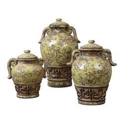 Uttermost - Gian Crackled Green Containers, Set of 3 - This distressed antique set of containers you have sitting on your sideboard looks like it could have come from a Pharaoh's tomb or some exotic, back-alley antique store in the Grand Bazaar. But if you know, you're not talking.