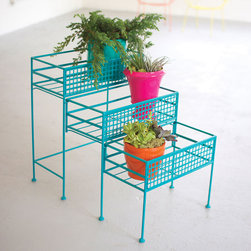 3-Tier Planter - Turquoise - Metal and color converge to create a modern planter. House plants indoors or outdoors in this 3-Tier Planter. A vibrant turquoise hue and slide-out rows make this piece a fresh, modern take on the traditional planter.