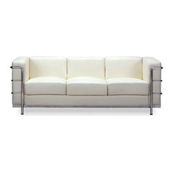"Zuo Modern - Modern Italian Leather Sofa in White - Fortre - Like the rare Spirit bear there is something special about spotting a piece of white leather furniture in a room.  It invites possibility and magic into any room.  The chrome steel tube frame detailing and legs add a solid foundation.  The Steel Tube Frame Sofa with White Italian Leather will be the focal point of any upscale home d̩cor scheme!  The White Leather Full Length Couch stretches 56 inches wide and provides a sumptuous sanctum amid White Italian Leather wrapped cushions. * White Italian Leather Wrapped Cushions. Steel Tube Chrome Frame & Legs. 26"" H x 30"" W x 56"" L. Seat: 16"" H"