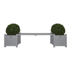 Esschert Design - Esschert Design Planters with Bridge Bench - CF33G - Shop for Planters and Pottery from Hayneedle.com! The Esschert Design Planters with Bridge Bench is just the kind of peaceful and naturally styled seating that no home garden should be without. Crafted from real pine wood in a painted finish of wooden farm folklore grey or white this garden accent features a backless bridge bench between two square planters.