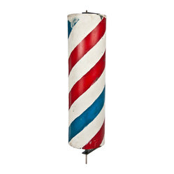 Salvatecture Studio - Vintage Hand-Painted Barber Pole on Stand - This fun antique barber pole is an interesting decorative piece for inside or out. The red, white and blue will liven up a stale room and add a bit of whimsy anywhere in your home.
