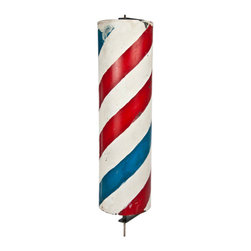 Salvatecture Studio - Vintage Handpainted Barber Pole on Stand - This fun antique barber pole is an interesting decorative piece for inside or out. The red, white and blue will liven up a stale room and add a bit of whimsy anywhere in your home.