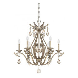 Joshua Marshal - Six Light Oxidized Silver Crystal - Champagne Candle Chandelier - Six Light Oxidized Silver Crystal - Champagne Candle Chandelier