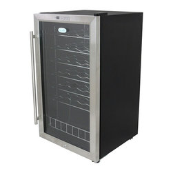 New Air - 33 Bottle Compressor Wine Cooler - Temperatures reach as low as 39 degrees F. Holds 33 bottles of wine. Insulated glass door. Digital temperature display. Slide out chrome shelves. Soothing interior lighting. See-thru door. 6 wine racks. . 34 in. L x 18 in. W x 19 in. H (57.2 lbs)The NewAir AWC-330E wine cooler lets you keep an amazing 33 bottles of wine ready for immediate use. The compressor cooling system reaches temperatures as low as 39 degrees Fahrenheit, with precise electronic controls that let you select the proper setting for your collection. With its sleek black and stainless steel design, it's a great fit for home, bar or wine cellar.