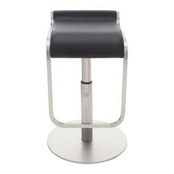 Nuevo Living - Adora Adjustable Stool, Black - Bar stools are perfect for entertaining in the home. Let your guests enjoy a cocktail in comfort while you whip up dinner. A pair of S-curved seats like these allow them to adjust the height from 21 1/2 to 31 1/2 inches, but you'll have to pick your favorite color of Naugahyde seats.