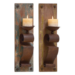 "Benzara - Candle Scone Assorted Elegant and Sophisticated - Set of 2 - This pair of assorted wooden candle stand rests on a flat base made up of sturdy wood that offers durability and consistent elegance for years to come. This designer candle stand can easily hold your favorite broad perfumed candles and give your guests a radiant welcome. You can simply fix this pair of assorted wooden candle stands on both sides of your door with a unique style. This pair of assorted wooden candle stand rests on a flat base made up of sturdy wood that offers durability and consistent elegance for years to come. This designer candle stand can easily hold your favorite broad perfumed candles and give your guests a radiant welcome.; Durable and long lasting; Made of high quality wood material; Elegant and sophisticated; Suitable for conventional and contemporary setting; Weight: 3.08 lbs; Dimensions:6""W x 4""D x 19""H; 6""W x 4""D x 19""H"