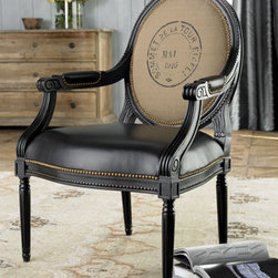 "Massoud - ""William"" Chair - Made to last for generations to come, the ""William"" Chair is constructed with a leather seat and arms.  Its dark profile will work well in traditional decor or will contrast beautifully in a lighter decor design.    * 27""W x 28""D x 41""T."