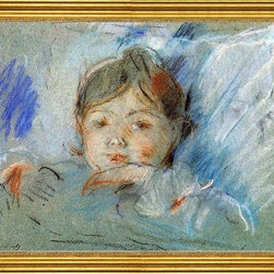 """Berthe Morisot-18""""x24"""" Framed Canvas - 18"""" x 24"""" Berthe Morisot Child in Bed framed premium canvas print reproduced to meet museum quality standards. Our museum quality canvas prints are produced using high-precision print technology for a more accurate reproduction printed on high quality canvas with fade-resistant, archival inks. Our progressive business model allows us to offer works of art to you at the best wholesale pricing, significantly less than art gallery prices, affordable to all. This artwork is hand stretched onto wooden stretcher bars, then mounted into our 3"""" wide gold finish frame with black panel by one of our expert framers. Our framed canvas print comes with hardware, ready to hang on your wall.  We present a comprehensive collection of exceptional canvas art reproductions by Berthe Morisot."""