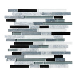 """Rocky Point Tile - 4"""" x 6"""" Sample - Bliss Midnight Random Strip Glass and Stone Mosaic Tiles - Hand-painted glass tiles in black, white and shades of gray in between complement cool gray stone strips to create a jazzy mosaic. Makes a wonderful kitchen backsplash behind a stainless steel or granite countertop — or behind solid black or white. For extra pop, install it next to a candy red countertop in the kitchen or bathroom."""