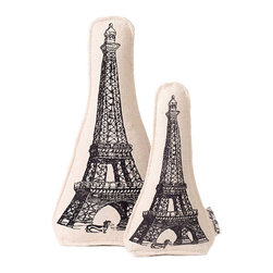 "Eiffel Tower Canvas Toy - 11"" - Printed with one of the world's most recognizable architectural designs, the Eiffel Tower Canvas Dog Toy is a cultured gift for pups and other small canine friends. This eco-friendly pet toy is designed for environmental responsibility (and, incidentally, softness underfoot when it's left by your bed) with a cotton canvas cover and recycled fiber fill."