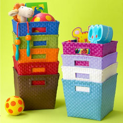 Strapping Cube Bin - Great storage bins for toys and books, and the cutout handles make them easy to transport.