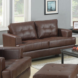 "Coaster - Samuel Loveseat, Dark Brown - The Samuel collection offers style and comfort with its clean lines and attached seat cushions. This collection also features premium 2mm full bonded leather. The only way to truly appreciate this collection is to sit and experience it. Our Samuel sectionals are also available in cream and dark brown full bonded leather.; Contemporary Style; Finish/Color: Dark Brown; Upholstery: 100% Bonded Leather; Dimensions: 67.50""L x 38""W x 36""H"