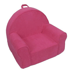 Fun Furnishings - Fun Furnishing My First Collection My First Chair Hot Pink Micro - Perfect size seating for toddlers, this cute comfortable chair even comes with a handle just right for little hands. Safe and sturdy, slip covered for easy care this chair pleases parents while little girls and boys delight in having furniture that is theirs alone.  Built-in Durability We have worked hard to make our furniture durable and help it retain its appearance. We include a layer of fiber on the seating surfaces to keep the fabric tight much longer. Even so, furniture does wear with use. Here are some tips to help you keep it looking good while your kids enjoy it: 1. Jumping on the furniture is safe and a lot of fun, but it will make the piece look tired sooner. 2. Sitting or jumping on the arms of the furniture is not recommended.  3. As a result of acrobatic use the fabric may stretch. You can use a steamer or mister to lightly dampen the fabric with distilled water. As the fabric dries it will shrink slightly and look almost like new again. Cleaning the Cover:  We use only fine upholstery-grade fabrics that can take lots of use from kids. Our Micro Suedes, denims and chenilles are all washable.  But we cannot prevent the covers from getting dirty. Here's what you can do to keep them looking new:  1. Blot up spills immediately. Surface wash any remaining stains with a mild, non-toxic cleaner. Do not rub too hard or use a strong cleaner; you will remove the fabric's finish and possibly some color too. 2. The furniture covers are removable. We recommend dry cleaning to keep the covers looking their best as long as possible. 3. You may apply a scotch-guard type treatment to protect the covers. If you choose to do this always start with a small amount on the bottom of the piece to make certain the fabric will not be damaged. 4. The white bed surface is a poly/cotton blend and can be cleaned with stronger stain removers. My First Chair Assembly Instructions Components:  1 foam 