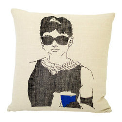 reStyled by Valerie Original - Audrey Hepburn Throw Pillow - Add class to your couch with a throw pillow that features Audrey Hepburn in the role that made her a star. This hand-screen printed image of Holly Golightly is based on an original illustration by Christabel Dunham and printed on a lovely, linen blend fabric.