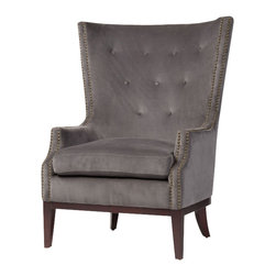 Marco Polo Imports - Columba Occasional Wing Chair - Vintage occasional wing chair expertly crafted with 100% cotton in a grey tufted finish.