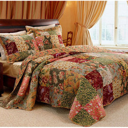 None - Antique Chic Twin-size 2-piece Quilt Set - Get ready to have the sweetest of dreams in this oversized patchwork Antique Chic quilt. A charming,richly colored floral and paisley patchwork pattern adorns this 100 percent cotton quilt and sham set,designed to fit any Twin bed.