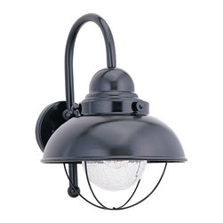 Seagull - Seagull Outdoor Sebring Outdoor Wall Mount Light Fixture in Black - Shown in picture: 8870-12 Single-Light Outdoor Wall Lantern in Black finish with Clear Seeded�Glass