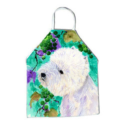 Caroline's Treasures - Westie Apron SS1064APRON - Apron, Bib Style, 27 in H x 31 in W; 100 percent  Ultra Spun Poly, White, braided nylon tie straps, sewn cloth neckband. These bib style aprons are not just for cooking - they are also great for cleaning, gardening, art projects, and other activities, too!
