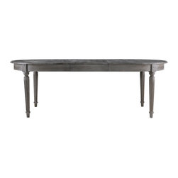 "Oval Maison Weathered Grey Dining Table - The Maison table will become a stunning statement in your dining decor. Crafted of solid oak accentuated with a deep grey finish. Includes one 20"" drop-in leaf extension."