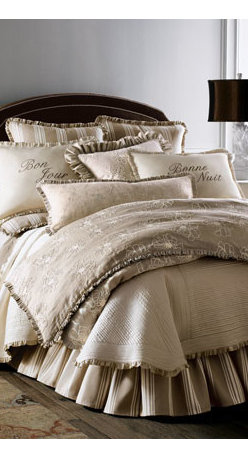 """French Laundry Home - French Laundry Home Floral Queen Duvet Cover - Serenity in shades of ivory and cream mixes with stripes, embroidery, ruffles, and French wishes for good days and nights for a most enticing setting. From French Laundry Home. Gathered dust skirts have an 18"""" drop. Large floral linens are made of linen. Striped linens are cotton. Dry clean. USA ma"""