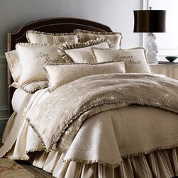 "French Laundry Home - French Laundry Home Floral Queen Duvet Cover - Serenity in shades of ivory and cream mixes with stripes, embroidery, ruffles, and French wishes for good days and nights for a most enticing setting. From French Laundry Home. Gathered dust skirts have an 18"" drop. Large floral linens are made of linen. Striped linens are cotton. Dry clean. USA ma"