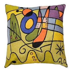 """Modern Wool - Miro Pillow Cover Purple Carnival Hand Embroidered 18"""" x 18"""" - Miro Pillow Cover Purple Carnival - Expertly handcrafted chain-stitch embroidery with a design inspired by the works of modern artist, Joan Miró. The abstract qualities of this piece, as well as the juxtaposition of primary colors and pastels of this decorative cushion cover, create a vibrant point of interest for your décor. Created of soft Kashmir wool over cotton, this all-natural cover makes an enduring impression."""