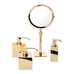 WS Bath Collections - Smile 311 Magnifying Mirror in Gold - Smile 311 Magnifying Makeup Mirror in Gold