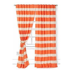 """Anthropologie - Crochet Spliced Curtain - Sold individuallyTunnel tab constructionLinen, cotton; cotton liningDry clean50""""WImported"""