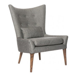 "Aidan Gray - AG Hom Reese Salon Chair - Aidan Gray Hom's Reese salon chair reinterprets the traditional wingback with a mod twist. A sleek silhouette and straight legs update the button-tufted seat's textured design. 33.5""W x 30.5""D x 40""H; Antique brown oak finish; Ives black hemp & viscose upholstery; Back bolster cushion; Handmade; Finish variations may occur"